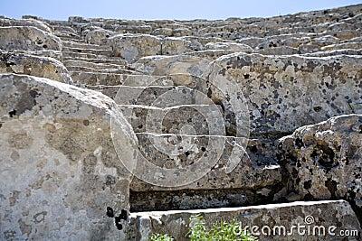 Closeup of steps of ancient Greek amphitheatre