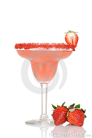Closeup strawberry daiquiri with fresh fruit