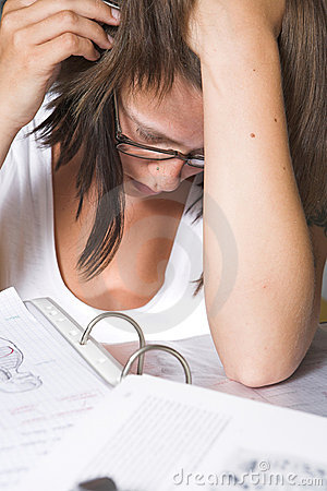 Closeup of a student learning for exam