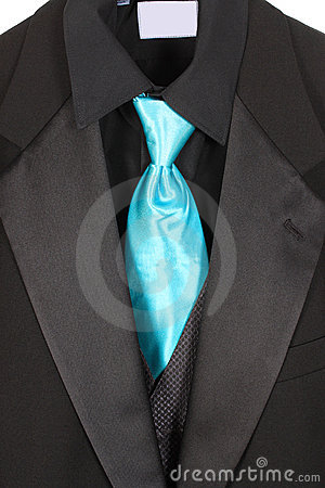 Closeup of suit and blue tie