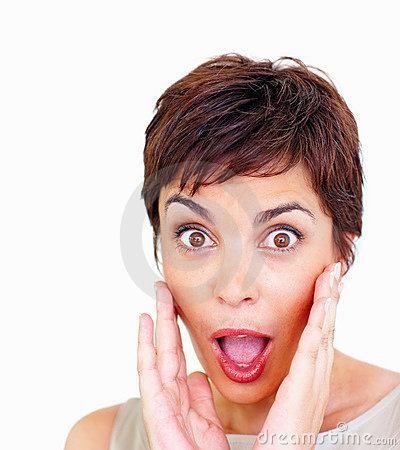 Closeup of a surprised woman