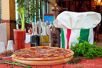 Closeup of a table with pizza