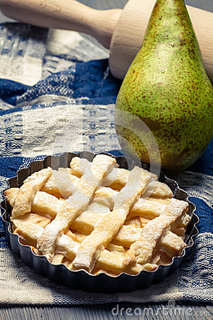 Closeup of tart made with fresh pears