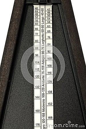 Closeup of tempo settings on metronome