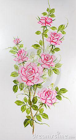Free Closeup To Beautiful Pink Roses Painting On Wardrobe Surface Background Stock Image - 87613251