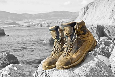 Closeup touristic boots