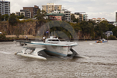 Closeup Turanor arriving into Brisbane River Editorial Stock Image