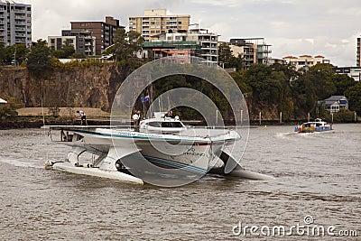 Closeup Turanor arriving into Brisbane River Editorial Stock Image