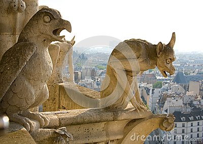 Closeup of two gargoyles on Notre-Dame de Paris