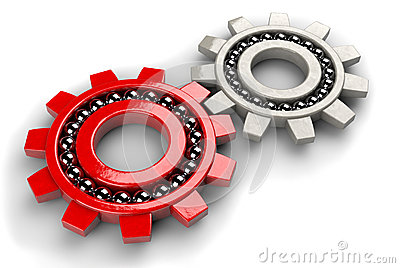 Closeup of two gray and red gear bearings