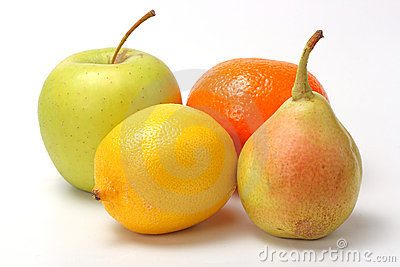 The closeup of various fruits