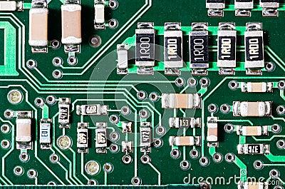 Closeup view of an electronic circuit board