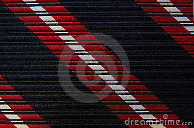 Closeup view of a striped neck tie
