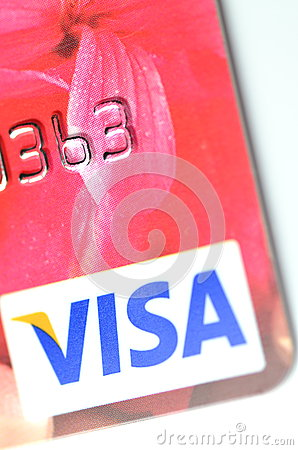 Closeup of VISA credit card Editorial Image