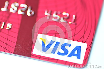Closeup of VISA credit card Editorial Photography