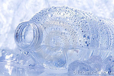 Closeup of a Water Bottle on its Side