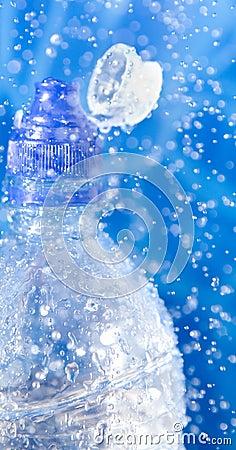 Closeup of Water bottle in a water splash