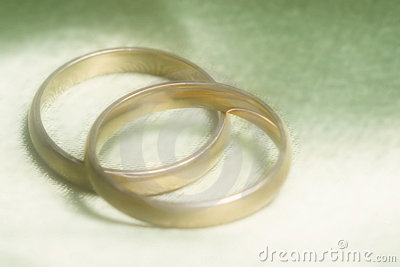 Closeup of wedding bands on green background