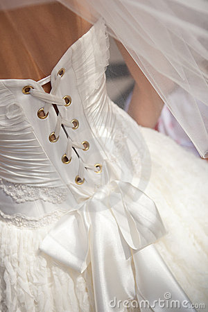 Closeup of wedding dress