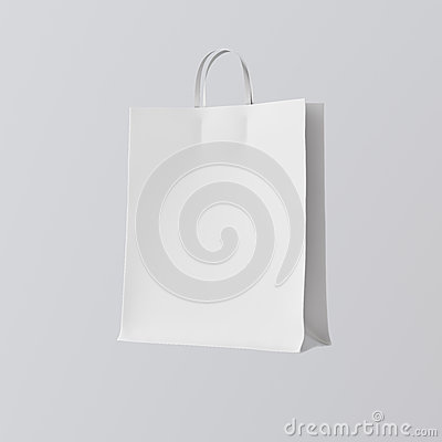 Free Closeup White Paper Bag Isolated Center Gray Empty Background.Mockup Highly Detailed Texture Materials.Space For Royalty Free Stock Photo - 77487955