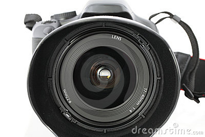 Closeup of wide angle zoom lens on camera