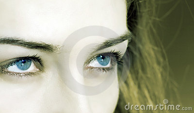 Closeup on woman with blue eyes