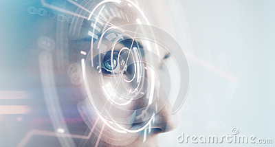 Closeup of woman eye with visual effects, on white background. Horizontal Stock Photo