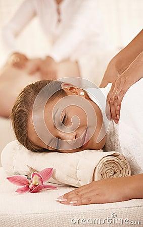 Closeup of woman getting massage