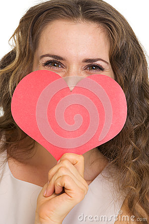 Closeup on woman hiding valentines day cards