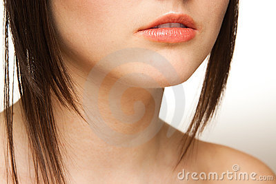Closeup of woman lips