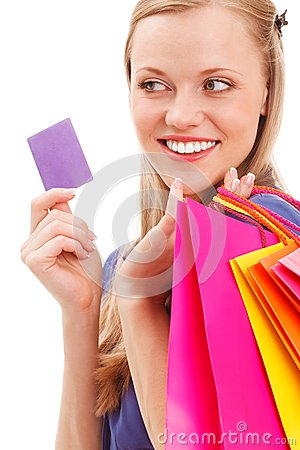 Closeup woman portrait with shopping bags and card