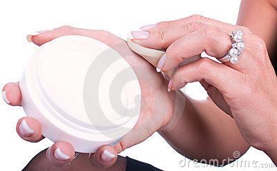Closeup of woman is preparing to apply foundation