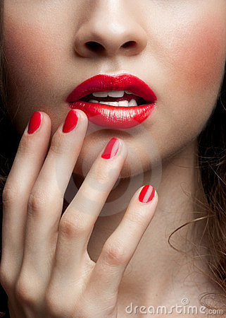Closeup of woman red  lips