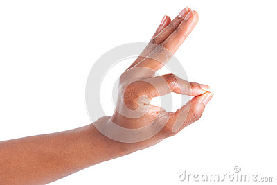 Closeup of woman s hand gesturing - showing ok sign