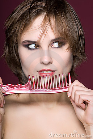 Free Closeup Woman With Hairbrush Stock Images - 20016404