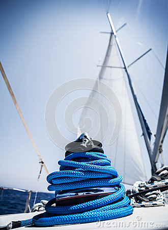 Closeup on yacht cord crank