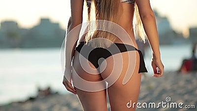 Closeup young beautiful woman dancing on the beach stock footage