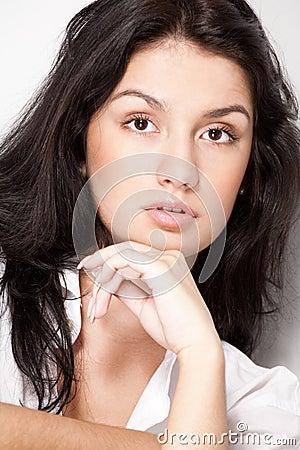 Closeup young black hair woman