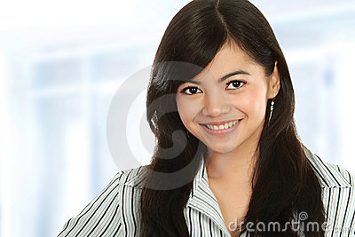 Closeup of young business woman