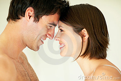 Closeup of a young couple enjoying themselves