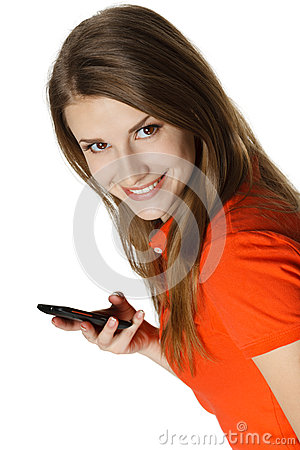 Closeup of young happy woman with mobile phone