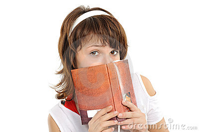 Closeup young woman with the book