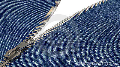 Closeup of zipper in blue jeans