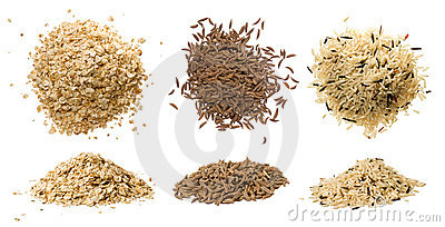 Closeups of oatmeal, rice and caraway