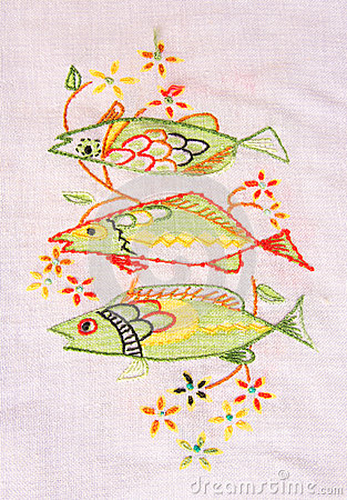 Cloth embroidery of fish.