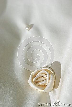 Cloth flower on wedding veil