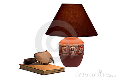 Cloth glasses, book and lamp