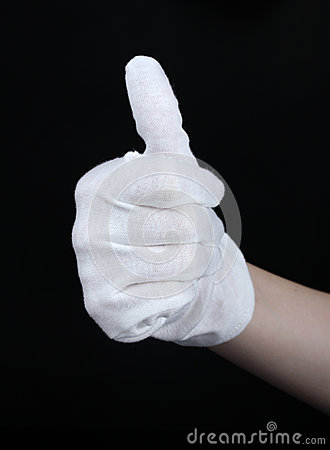 Cloth glove on hand