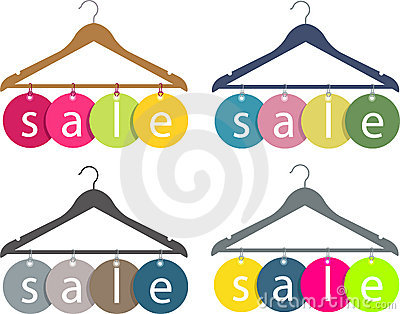 Cloth hanger with sale label