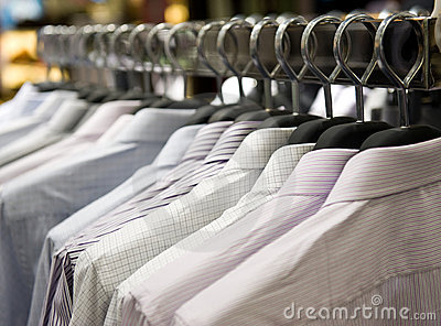 Cloth hangers with shirts
